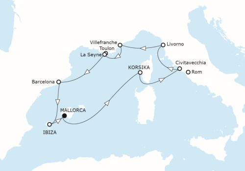Karte Kreuzfahrtroute